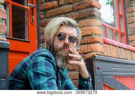 Tobacco. Stylish Bearded Man With Cigarette. Smoking Hipster. Sensual Bearded Man With Cigarette. Ci