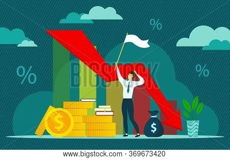 Financial And Economic Crisis Illustration, Vector. Coronavirus Crisis. Economy Stock Market Crash D