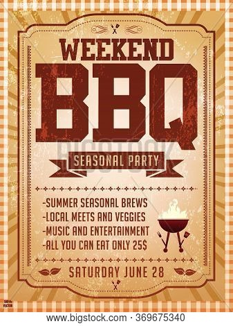 Bbq Party Invitation Template On Yellow. Summer Barbecue Weekend Flyer. Grill Illustration With Food
