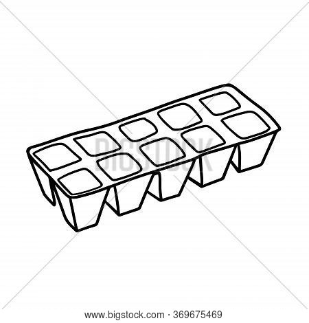 Peat Pots For Growing Seedlings. Toff Pots For Seedlings. Gardening. Vector Illustration In The Dood