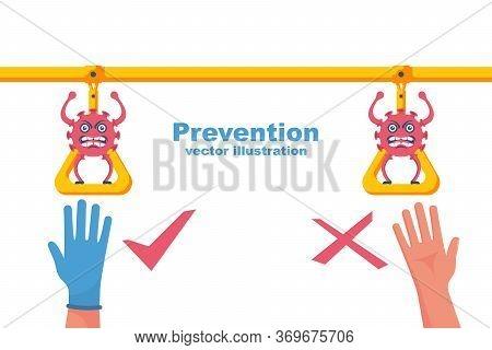 Precautions Coronavirus Covid-19. Infographic Use Public Transport. Landing Page Social Awareness. V