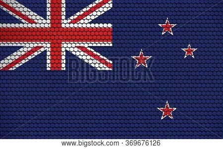 Abstract Flag Of New Zealand Made Of Circles. New Zealander Flag Designed With Colored Dots Giving I