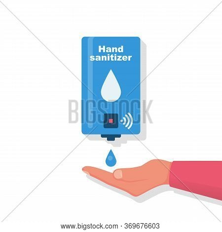 Hand Sanitizer Wall. People Use Automatic Alcohol Antiseptic Gel. Drop Of Antibacterial Gel In Palm.