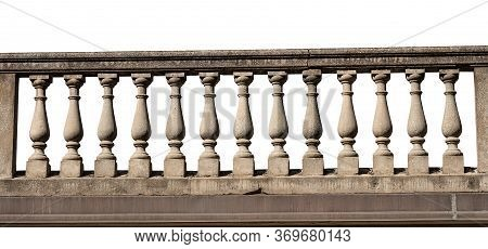 Close-up Of A Grey Concrete Balustrade Isolated On White Background