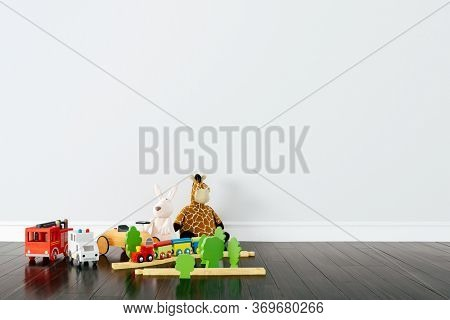 3d render of beautiful child room interior and toys