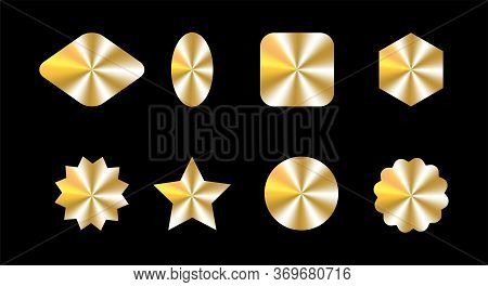 Golden Holograms Set, Kit, Bundle Of Different Shapes For Award Design, Product Guarantee, Label Des