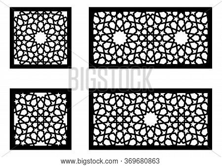 Arabic Islamic Decorative Wall, Screen, Panel Pattern With Stars. Vector Template Kit. Set Of Decora