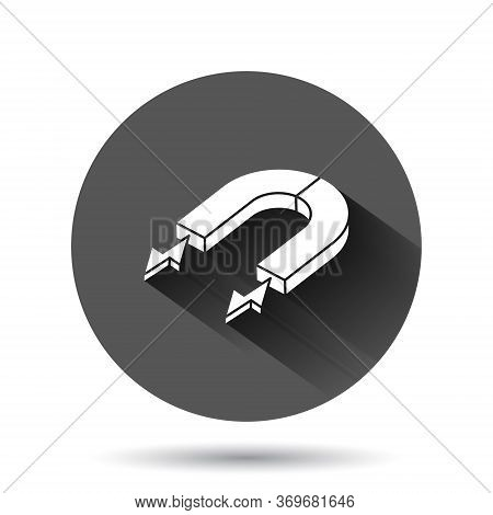 Magnet Icon In Flat Style. Attract Vector Illustration On Black Round Background With Long Shadow Ef