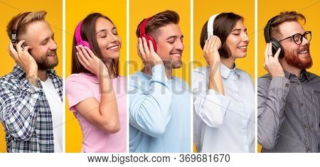 Collage Of Glad Diverse Audiophiles Smiling And Keeping Eyes Closed While Enjoying High Resolution A