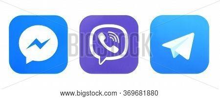 Kiev, Ukraine - october 01, 2019: Messenger, Viber, Telegram logo. Messengers sign printed on paper