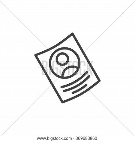 Curriculum Vitae Line Icon. Linear Style Sign For Mobile Concept And Web Design. Resume Cv Outline V