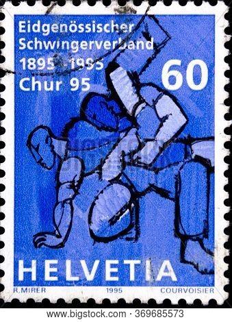 02 08 2020 Divnoe Stavropol Territory Russia The Postage Stamp Switzerland 1995 Anniversaries Federa