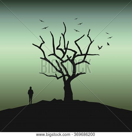 Lonely Girl In The Dark By Bare Tree Creepy Landscape Vector Illustration Eps10