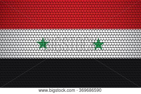 Abstract Flag Of Syria Made Of Circles. Syrian Flag Designed With Colored Dots Giving It A Modern An