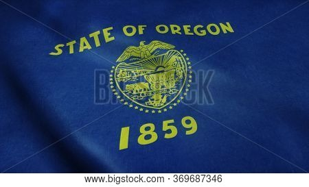 State Flag Of Oregon Waving In The Wind. 3d Rendering