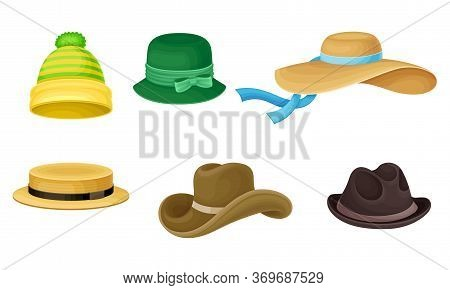 Female And Male Headwear Or Headdress With Wide Brims Vector Set