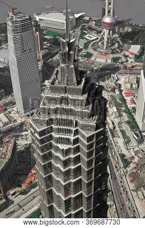 Pudong, Shanghai, China, Asia - November 18, 2008: Aeriel View Of The Jinmao Tower In Pudong.
