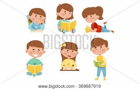 Kids In Sitting And Lying Pose Reading Book Vector Illustrations Set