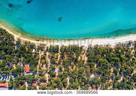 Croatia, Island Of Pag, Beautiful Tourist Resorts, Beach Under Pine Trees, Turquoise Water Of Adriat