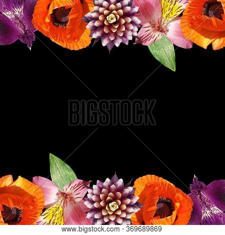 Beautiful Floral Pattern Of Alstroemeria, Poppy And Guzmania. Isolated