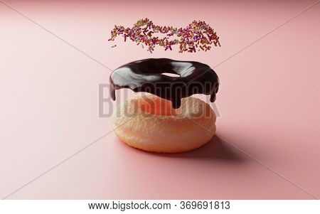 3D rendering.  Chocolate donut with chocolate icing and sugar sprinkles floating, on pink background . Exploded view. Concept image for seeing in components, layers or stacking elements.