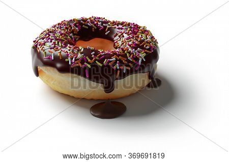 3D rendering of a chocolate donut with dripping chocolate coating or icing, colorful sugar sprinkles on top isolated on white.