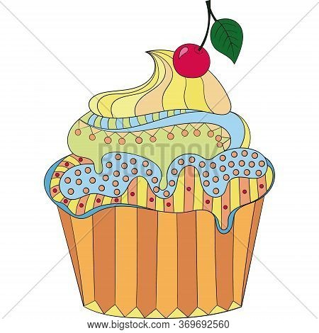 Color Vector Cupcake On A White Background. Hand Drawn Cupcake With Cherries