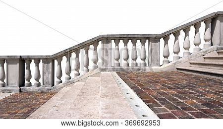Marble And Porphyry Stairway With White Balustrade Isolated On White Background