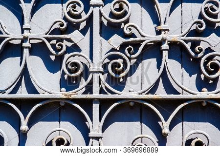 Grey Old Stained Wood With Wrought Iron Design