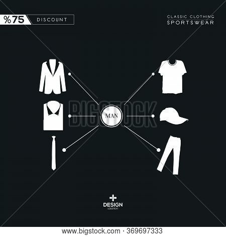 Classic Suits And Sportswear Products On Black And White Background.jacket, Pants, Shirt, Hat, Tie,