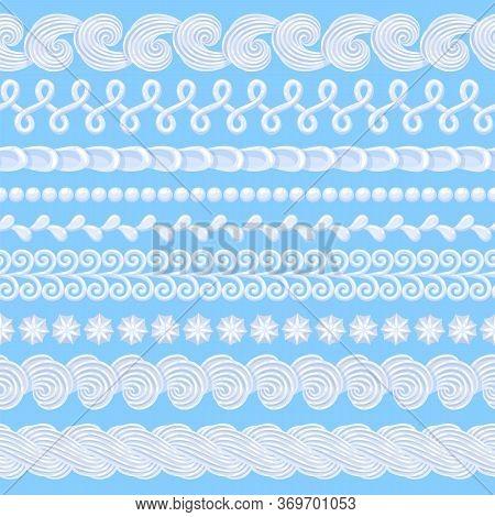Whipped Buttercream Cake Borders Set. Vector Seamless Pattern.