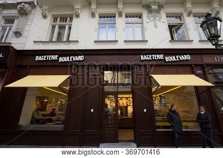 Prague, Czechia - November 1, 2019: Bageterie Boulevard Logo In Front Of Their Restaurant In Prague