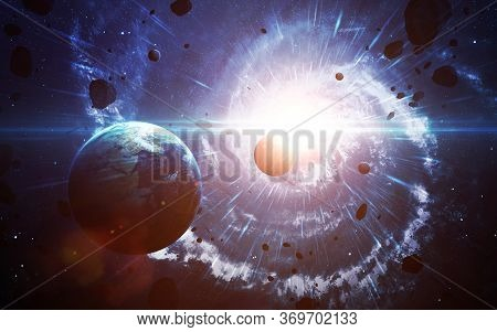 Star Explosion In Space. Universe Scene With Planets, Stars And Galaxies In Outer Space. Elements Of