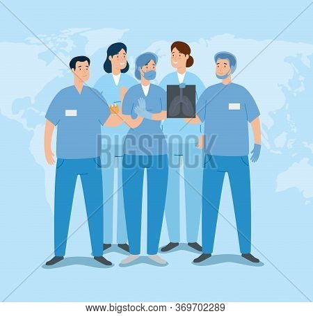Group Of Paramedics With X Ray Of Lungs Vector Illustration Design