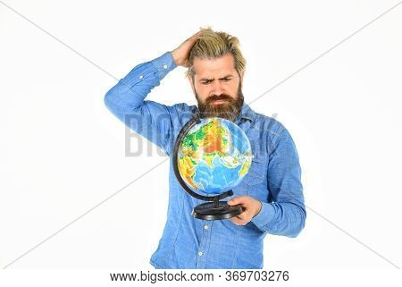 Earth Is Irreplaceable. Global Networking And International Business. Thinking Bearded Man With Atla