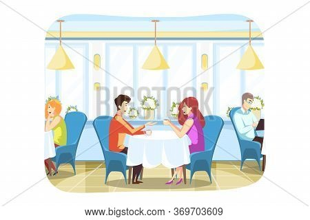 Couple, Love, Meeting, Communication Concept.young Boyfriend And Girlfrined Man And Woman Sitting In