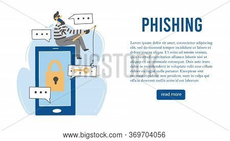 Scammer Attack, Email Phishing, Cyber Hacker, Online Fraud, Security Concept Design For Web, Banner,