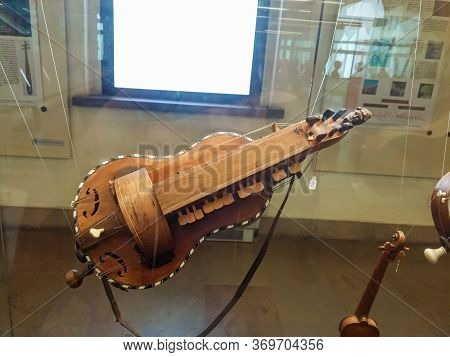 Milan, Italy, 29 September, 2015 : Medieval Stringed Musical Instrument - Exhibit At The Museum Of T