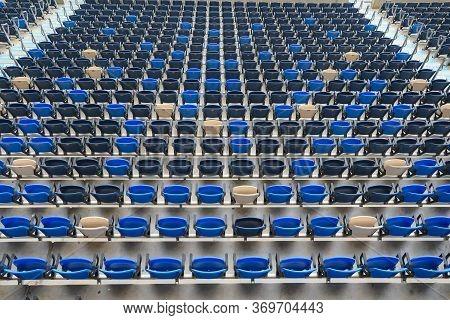 Empty Stadium Chair. Stadium Empty From Fans.