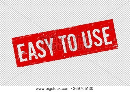 Isolated Esay To Use Red Square Rubber Seal Stamp On Transparent Background. Adaptable Symbol Icon.