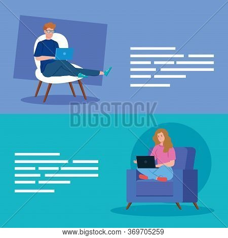 Couple Working In Telecommuting Avatar Characters Vector Illustration Design
