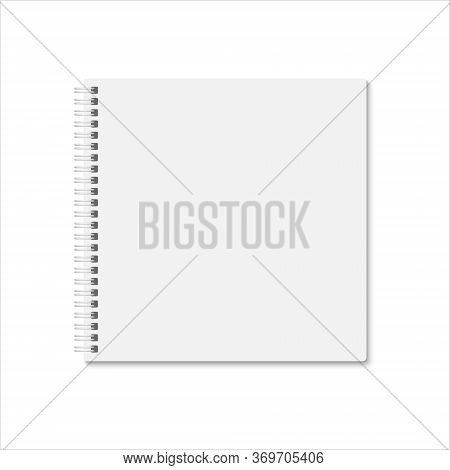 Blank White Square Notebook Cover. Vector Mock Up Esp 10. Vertical Blank Spiral Copybook, Organizer
