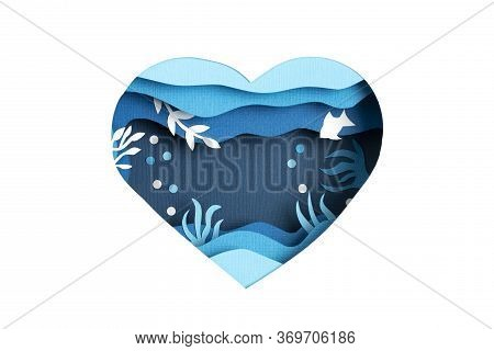Paper Cut For World Ocean Day Deep Underwater Sea. Blue Marine Life. Save The Oceans Papercut With F