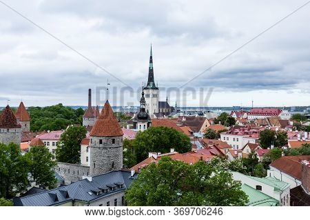 Roofs Of Old Town Of Tallinn, Cityscape. Tallinn, Estonia, Europe