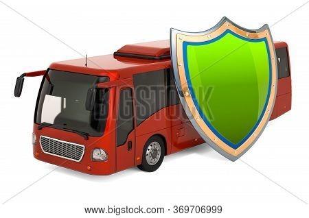 Passenger Transportation Insurance Concept. Bus With Shield, 3d Rendering