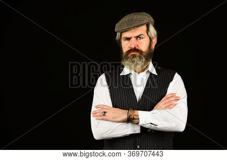 Real Masculinity. Masculine Appearance. Bearded Guy On Black Background. Man In Vintage Style Hat. B