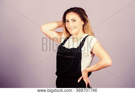 Voluminous Crimped Hair. Popular Look. Trendy Crimped Hairstyles. Woman Dreamy Face Posing With Styl