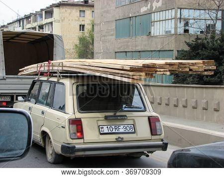 Azerbaijan, Baku - April 27, 20107: Classic Soviet Vintage Sedan Car Lada Vas With Trunk That Is Ove