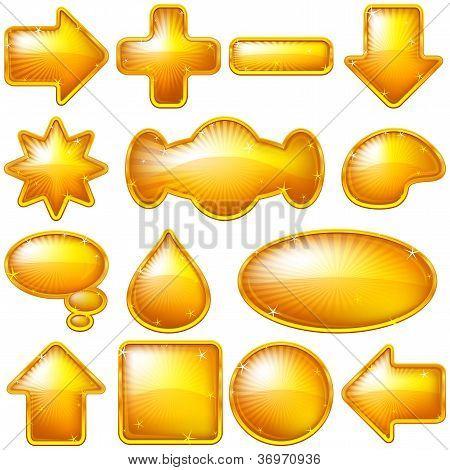 Golden buttons, set