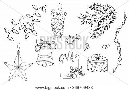 Set Of Christmas Tree Toys And Home Decorations. Christmas Garland, Star, Pine Cone, Bell, Pearl Gar